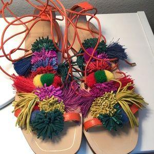 Zara tassel pompom leather sandals size 40